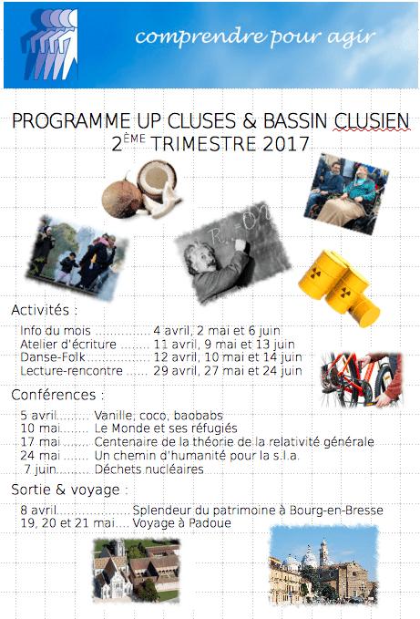 Programme du deuxième trimestre 2017 de l'UP de Cluses
