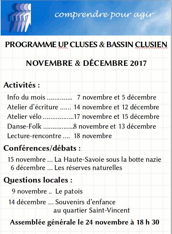 Programme des mois de novembre et décembre 2017 de l'UP de Cluses