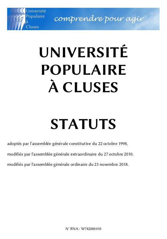Statuts de l'Université populaire à Cluses
