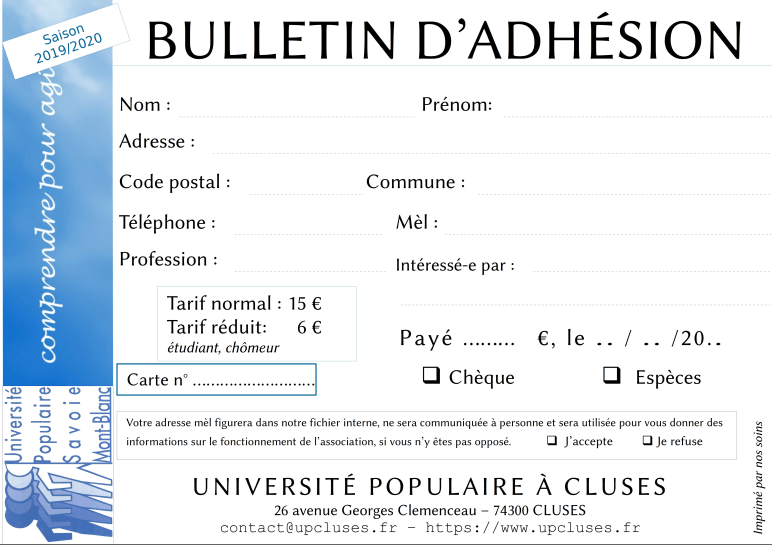 Bulletin d'adhésion 2019-2020